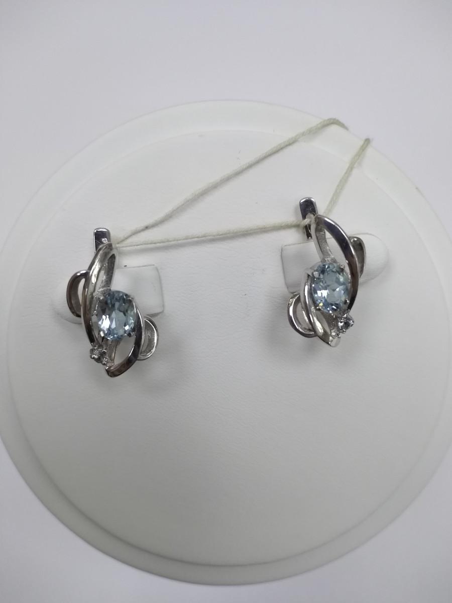 Серьги из серебра с топазами Арт Л-92