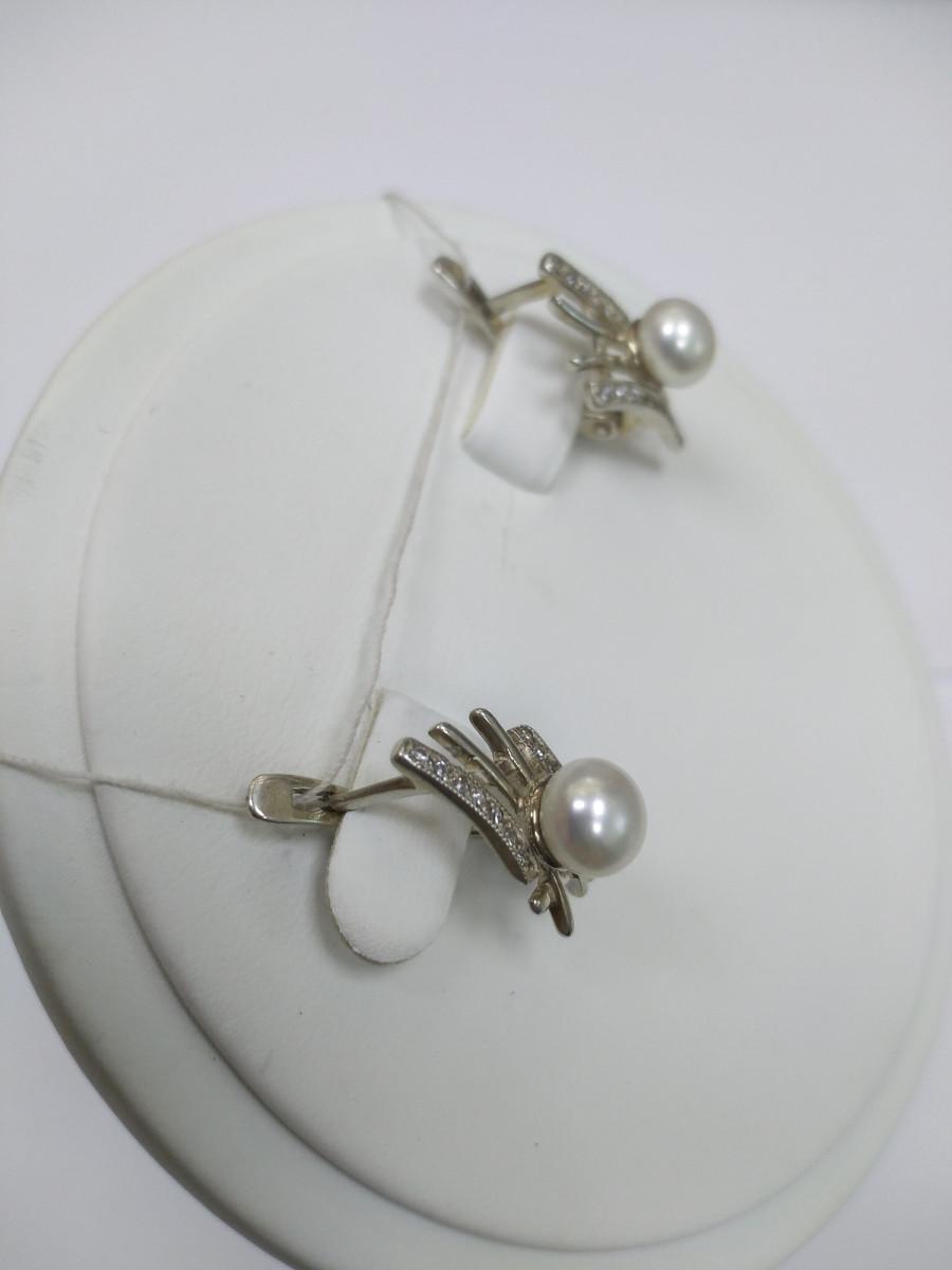 Серьги из серебра с жемчугом Арт Л-102
