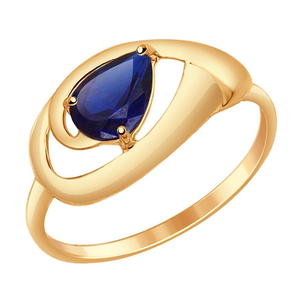 Кольцо из золота с корундами сапфировыми (синт.) SOKOLOV арт К-1575