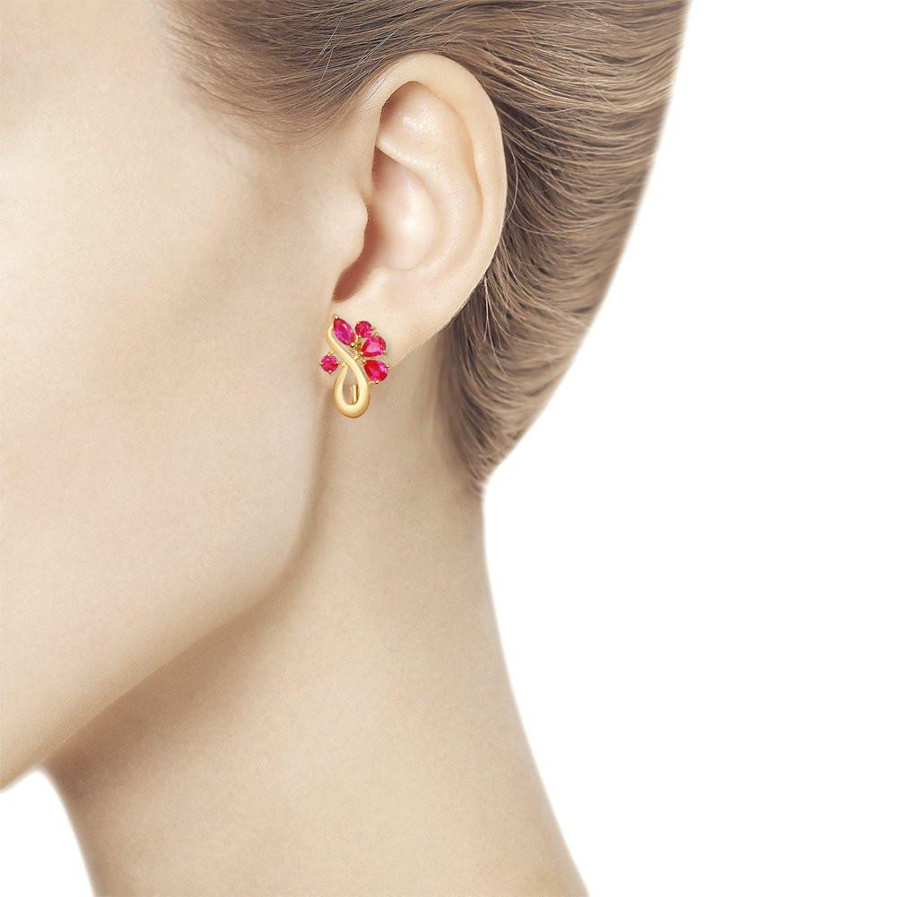 Серьги из золота с корундами рубиновыми (синт.) SOKOLOV Арт С-1445