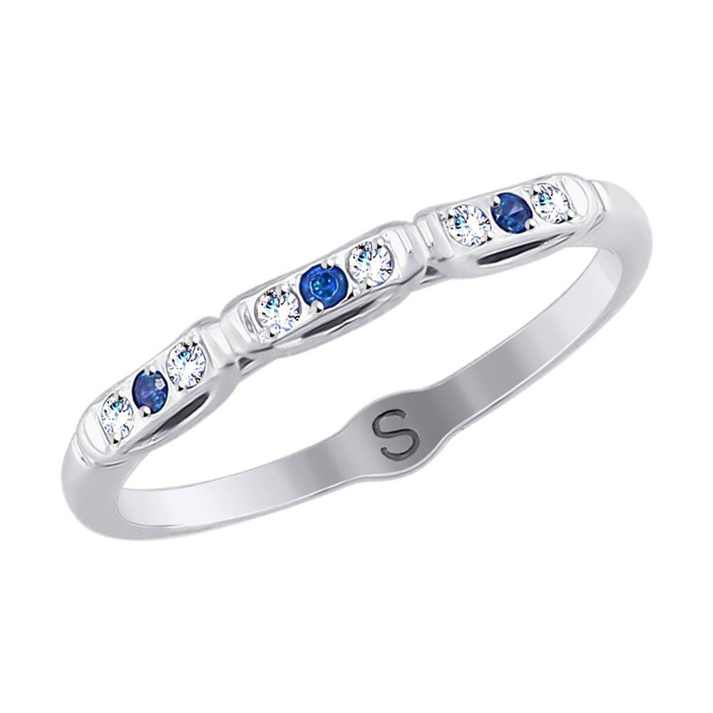 Кольцо из белого золота с бесцветными и синими фианитами SOKOLOV арт КЗ-105