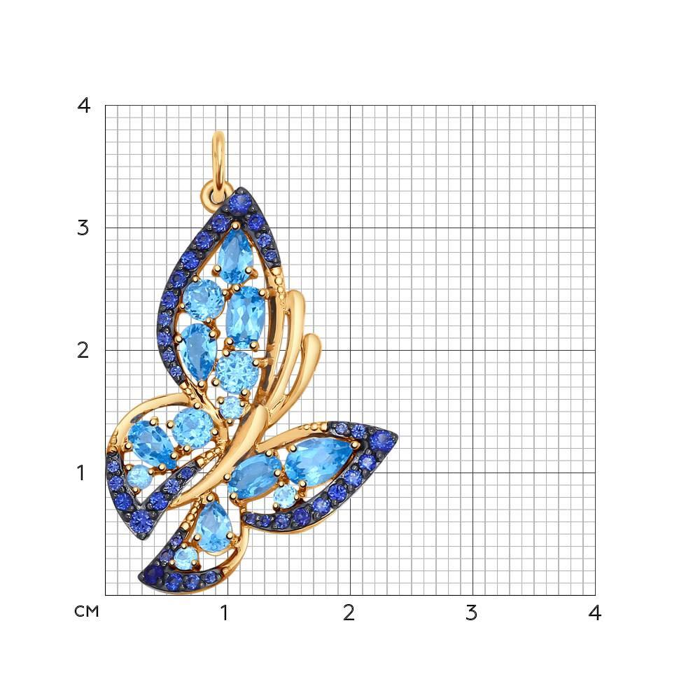 Подвеска «Бабочка» из золота с полудрагоценными вставками SOKOLOV Арт ПЗ-030