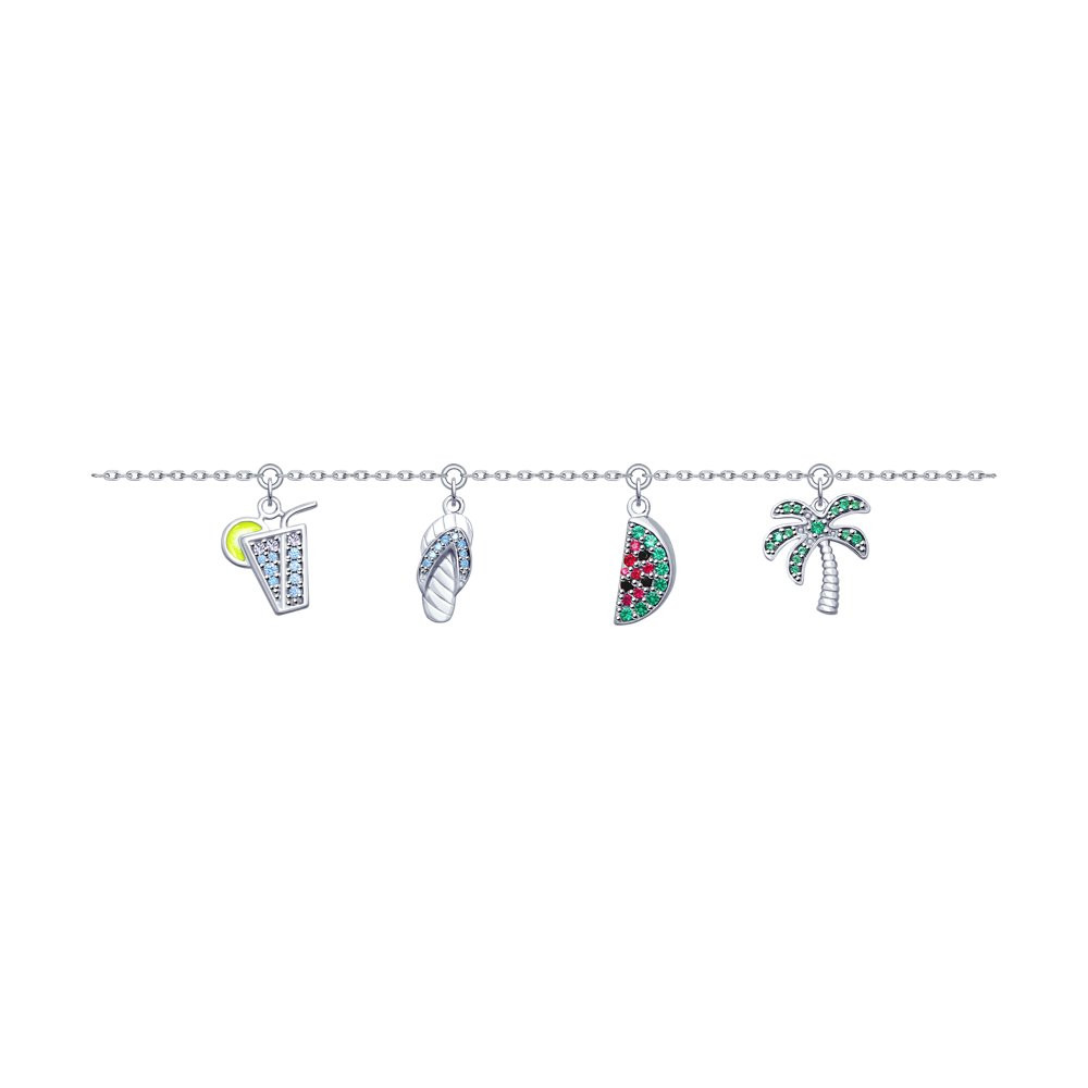 Браслет из серебра с эмалью и фианитами SOKOLOV арт БС-049