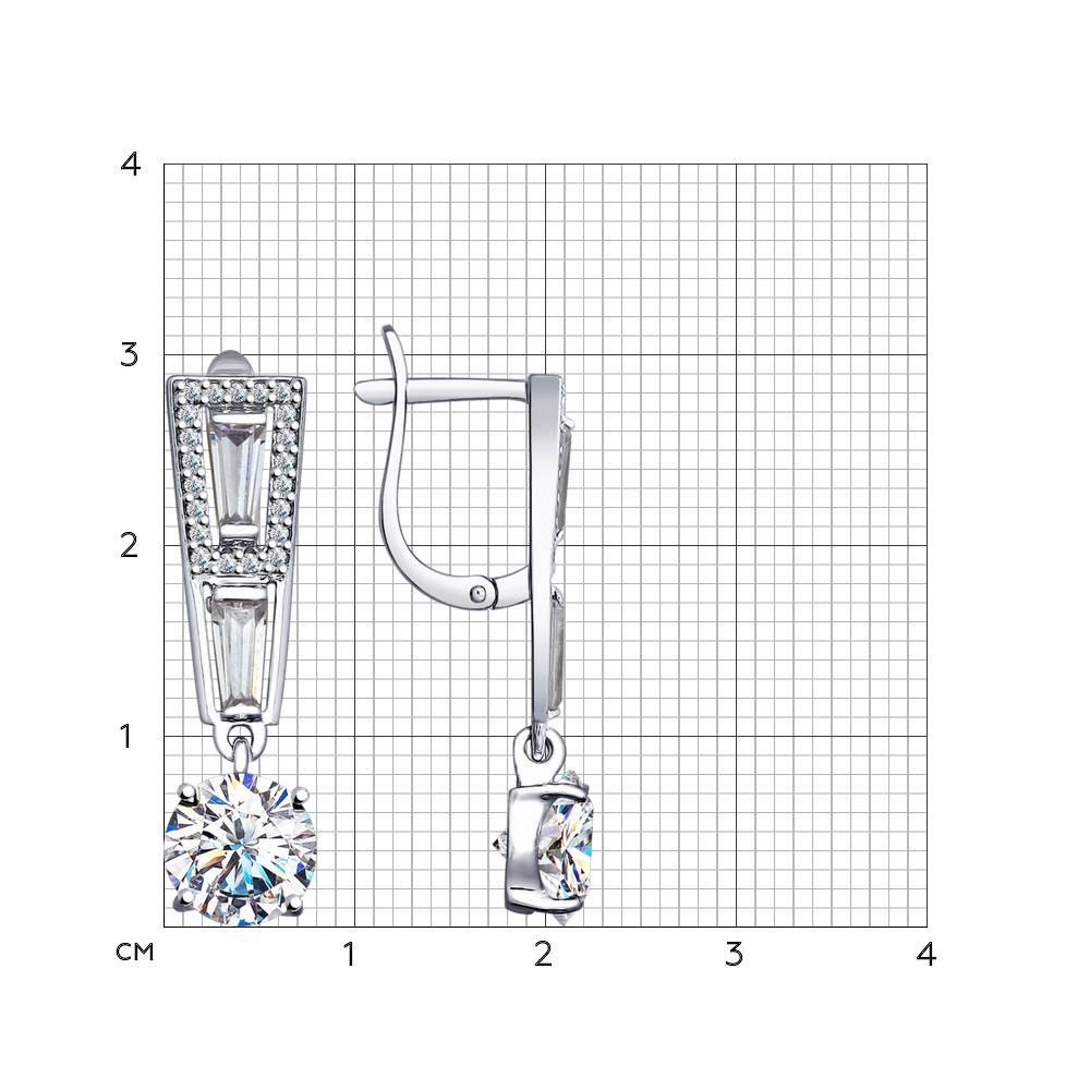 Серьги из серебра с фианитами Арт CC-266
