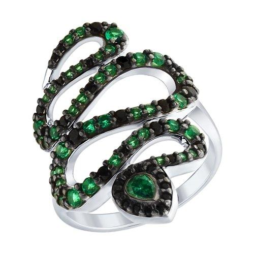 Кольцо из серебра с зелеными и чёрными фианитами Арт КС-279
