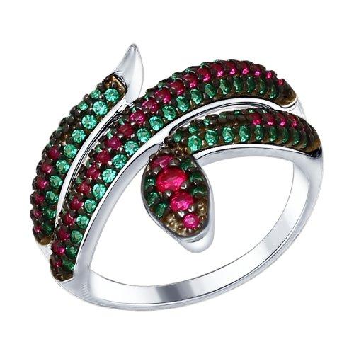 Кольцо из серебра с зелеными и красными фианитами Арт КС-286