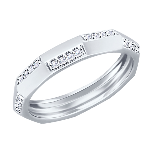 Кольцо из серебра с фианитами Арт КС-290