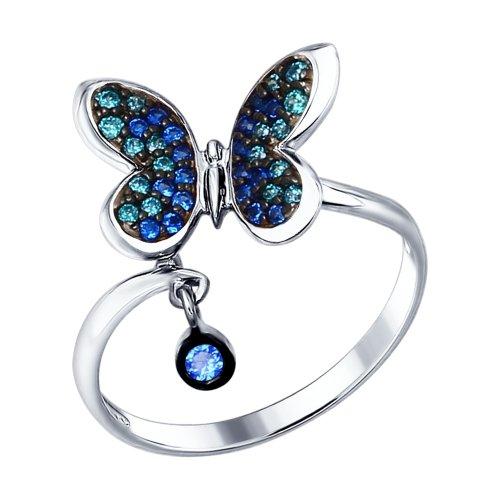 Кольцо из серебра с зелеными и синими фианитами Арт КС-301