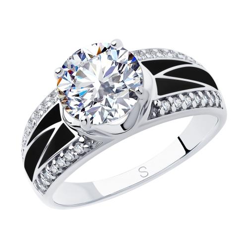 Кольцо из серебра с эмалью и фианитами Арт КС-336