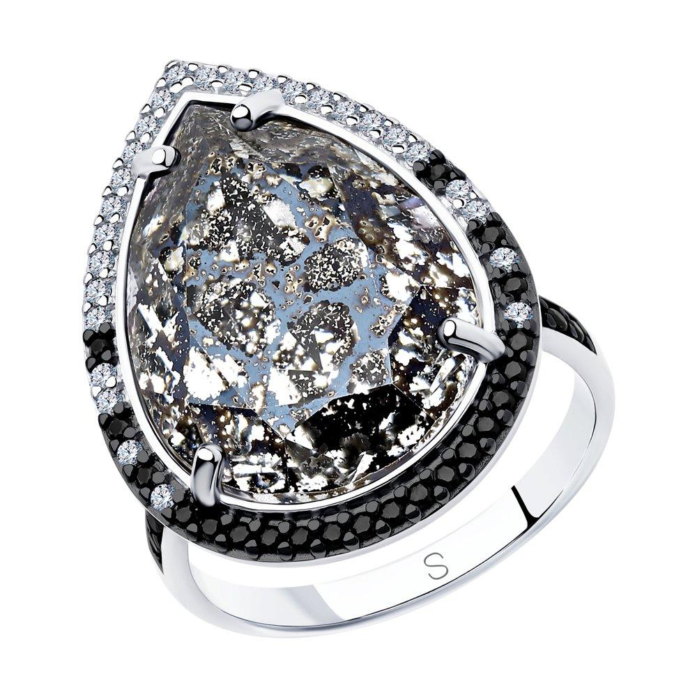 Кольцо из серебра с чёрным кристаллом Swarovski и фианитами Арт КС-337