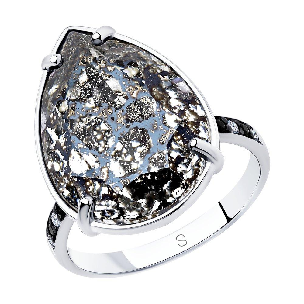Кольцо из серебра с чёрным кристаллом Swarovski и фианитами Арт КС-338