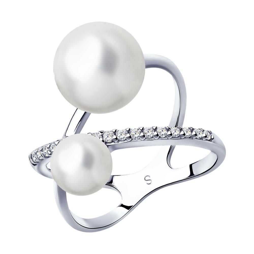 Кольцо из серебра с жемчугом и фианитами Арт КС-347