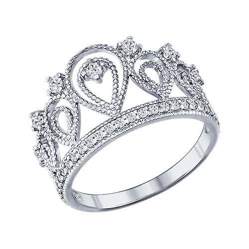 Кольцо «Корона» из серебра с фианитами Арт КС-356