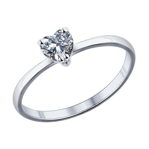 Помолвочное кольцо из серебра с фианитом Арт КС-363