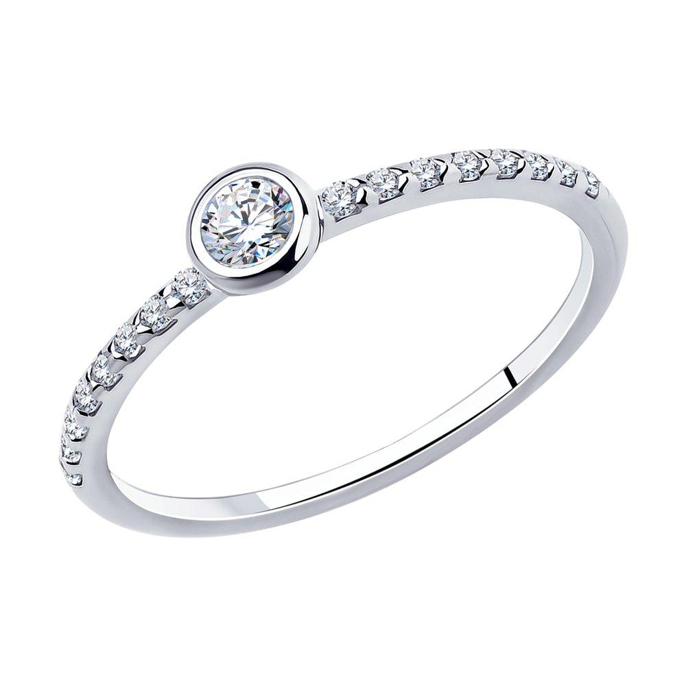 Помолвочное кольцо из серебра с фианитами Арт КС-367