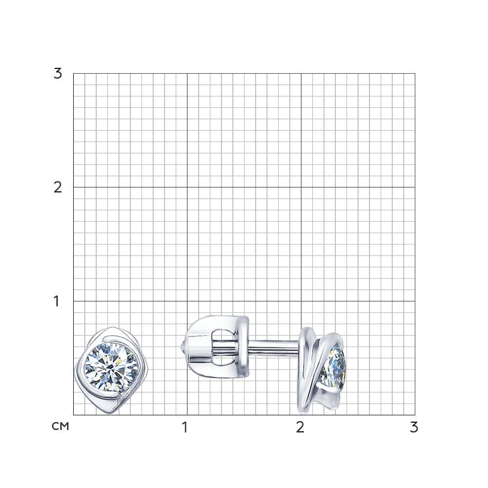 Серьги-пусеты из серебра с фианитами Арт СС-213