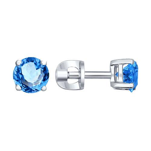 Серьги-пусеты из серебра с голубыми фианитами Арт СС-220