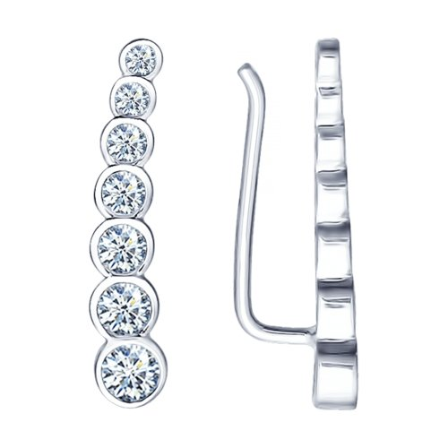 Серьги из серебра с фианитами Арт СС-227