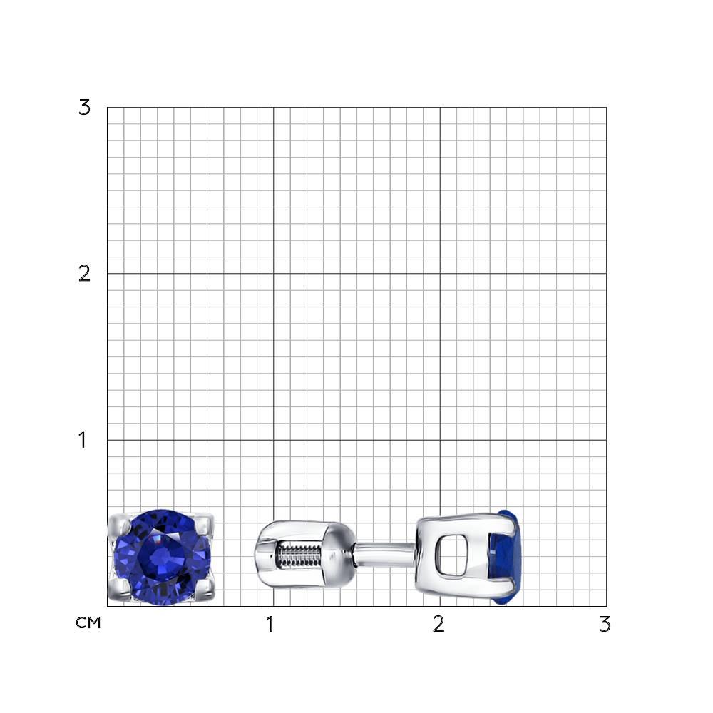 Серьги-пусеты из серебра с синими фианитами Арт СС-248