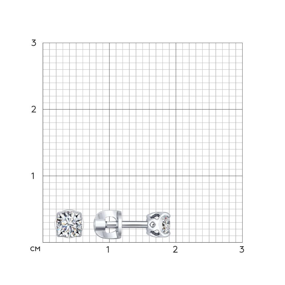 Серьги-пусеты из серебра с фианитами Арт СС-275