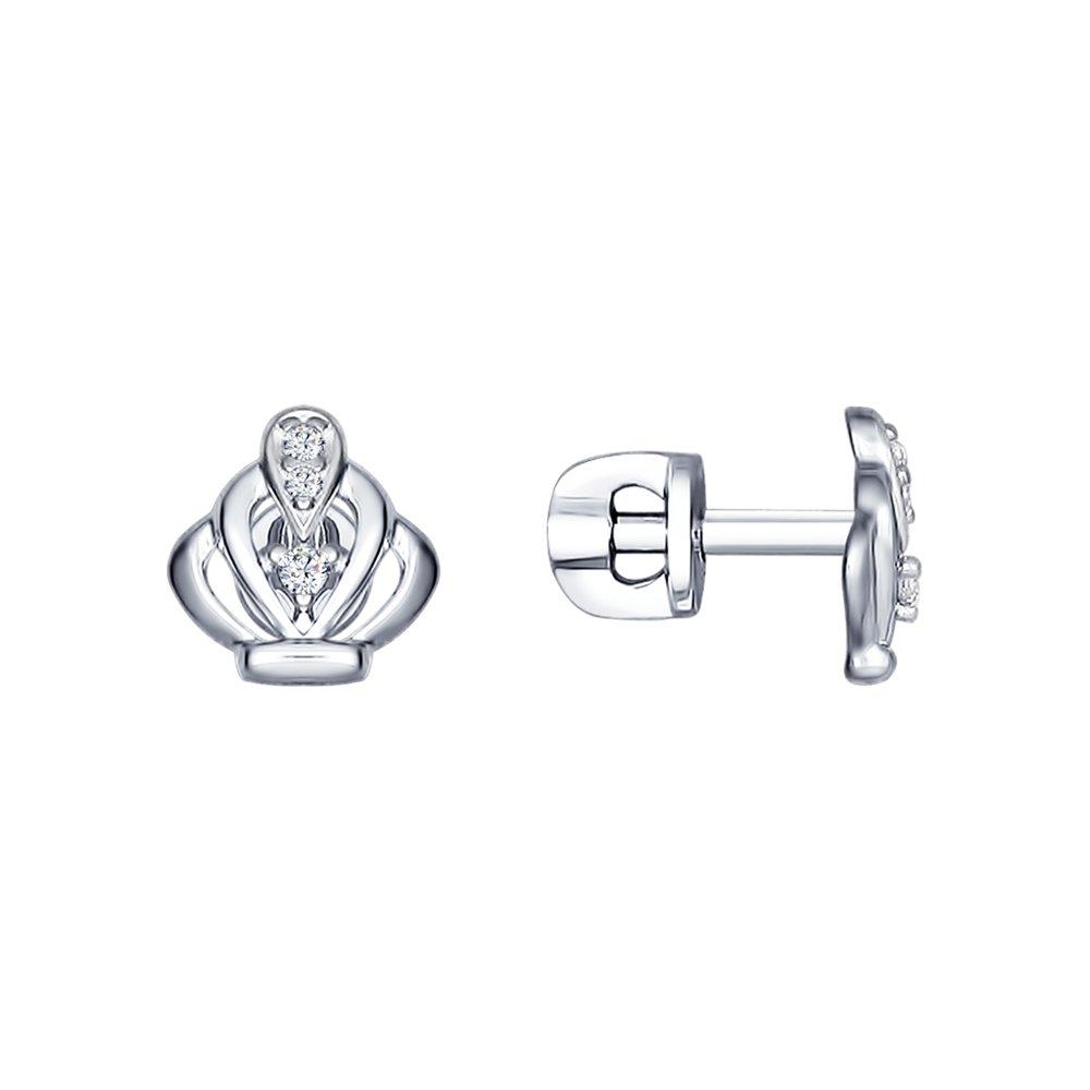 Серьги-пусеты из серебра с фианитами Арт СС-276