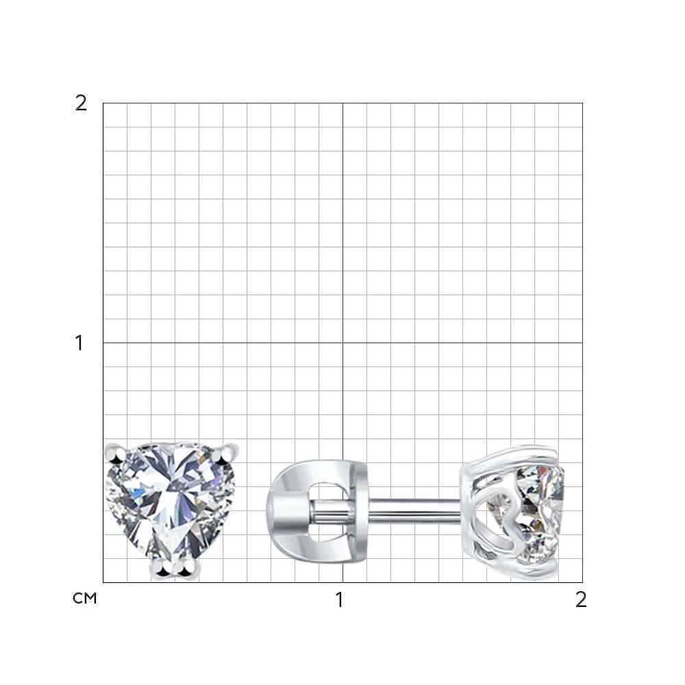 Серьги-пусеты из серебра с фианитами Арт СС-291