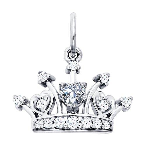 Серебряная подвеска «Корона» с фианитами Арт ПС-059