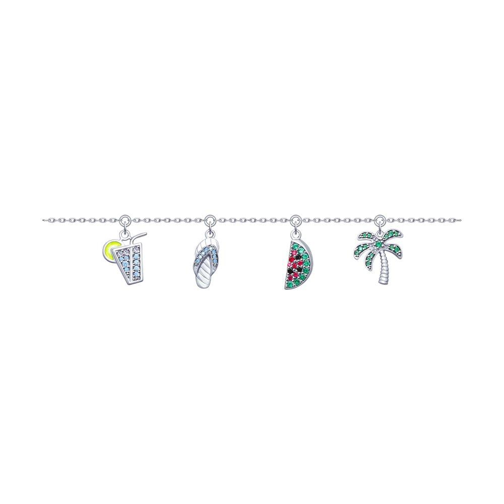Браслет из серебра с эмалью и фианитами Арт БС-049