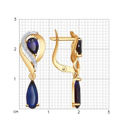 Серьги из золота с корундами сапфировыми (синт.) и фианитами SOKOLOV арт С-1482