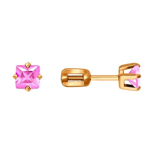 Серьги-пусеты из золота с розовыми фианитами SOKOLOV арт С-1485