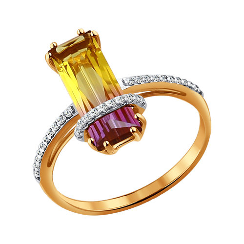 Золотое кольцо с ситаллом аметрин SOKOLOV арт КЗ-115