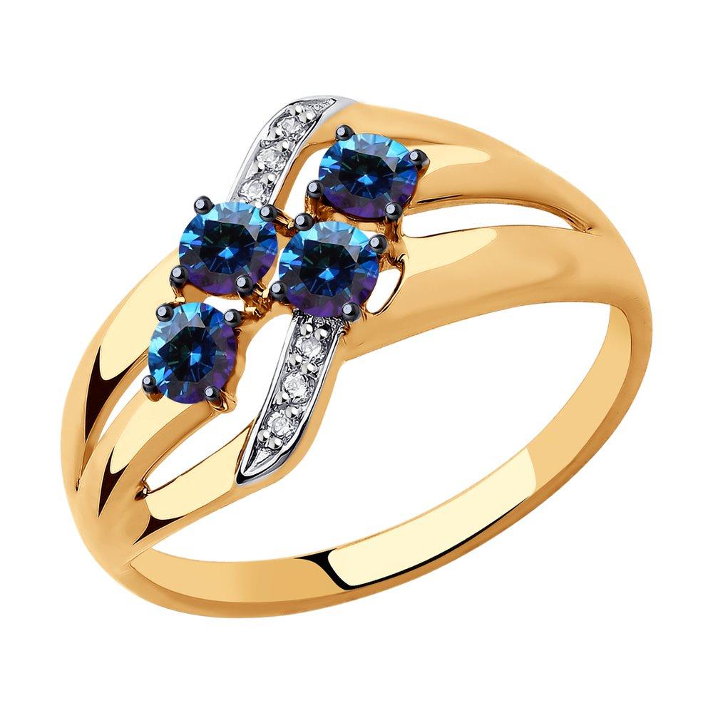Кольцо из золота с бесцветными и синими Swarovski Zirconia SOKOLOV арт КЗ-122