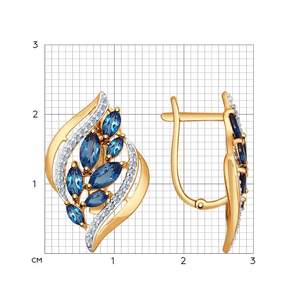 Серьги из золота с топазами и фианитами SOKOLOV Арт СЗ092