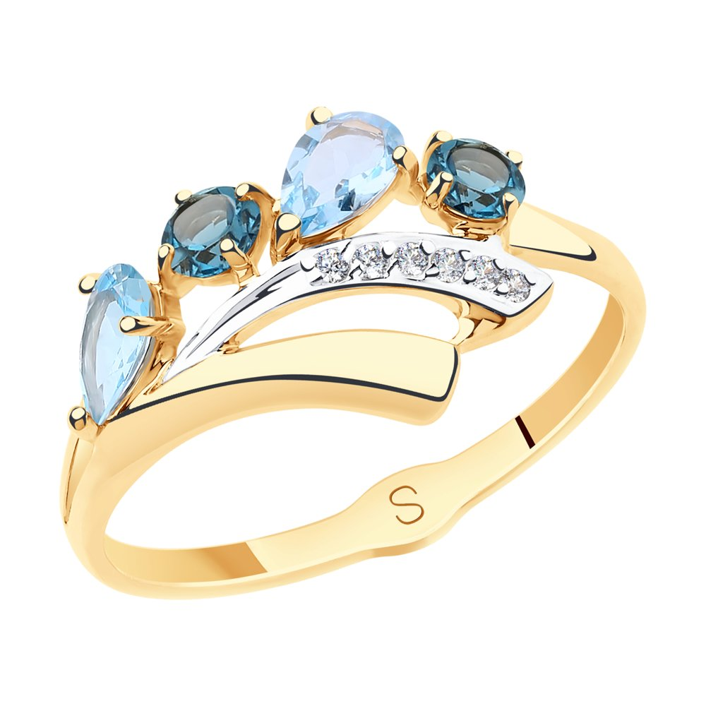 Кольцо из золота с голубыми и синими топазами и фианитами SOKOLOV Арт К-1756