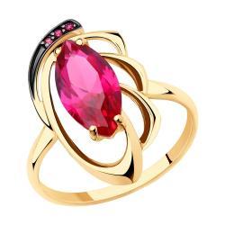 Золотое кольцо Diamant с рубиновым корундом Арт К-1760