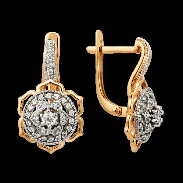 Серьги из золота с фианитами DINASTIA Арт С-1543