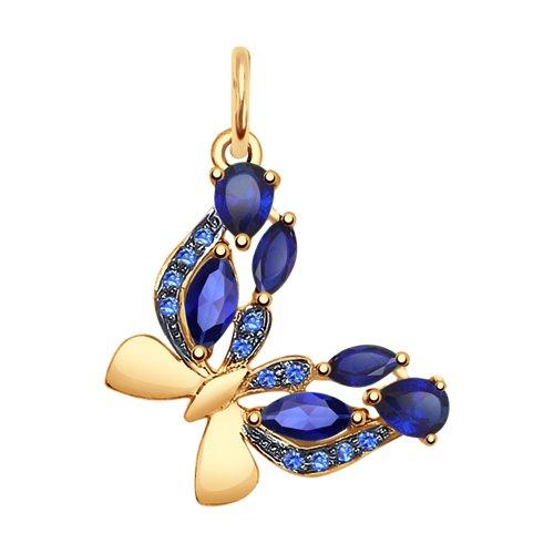 Золотая подвеска в виде бабочки с синими корундами и синими фианитами SOKOLOV Арт П-663