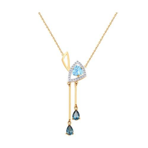 Колье из золота с голубым и синими топазами и фианитами SOKOLOV Арт Ц-422