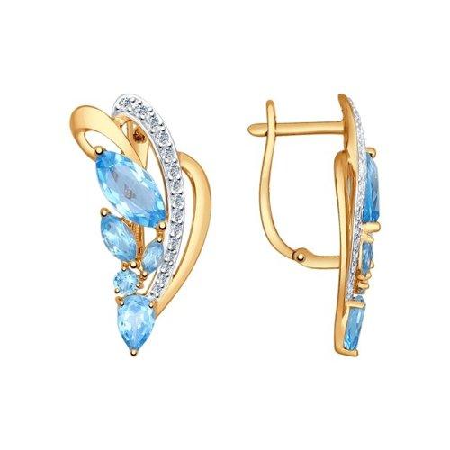 Серьги из золота с голубыми топазами и фианитами SOKOLOV Арт С-1611