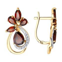 Золотые серьги Diamant с фианитом и гранатом Арт С-1598