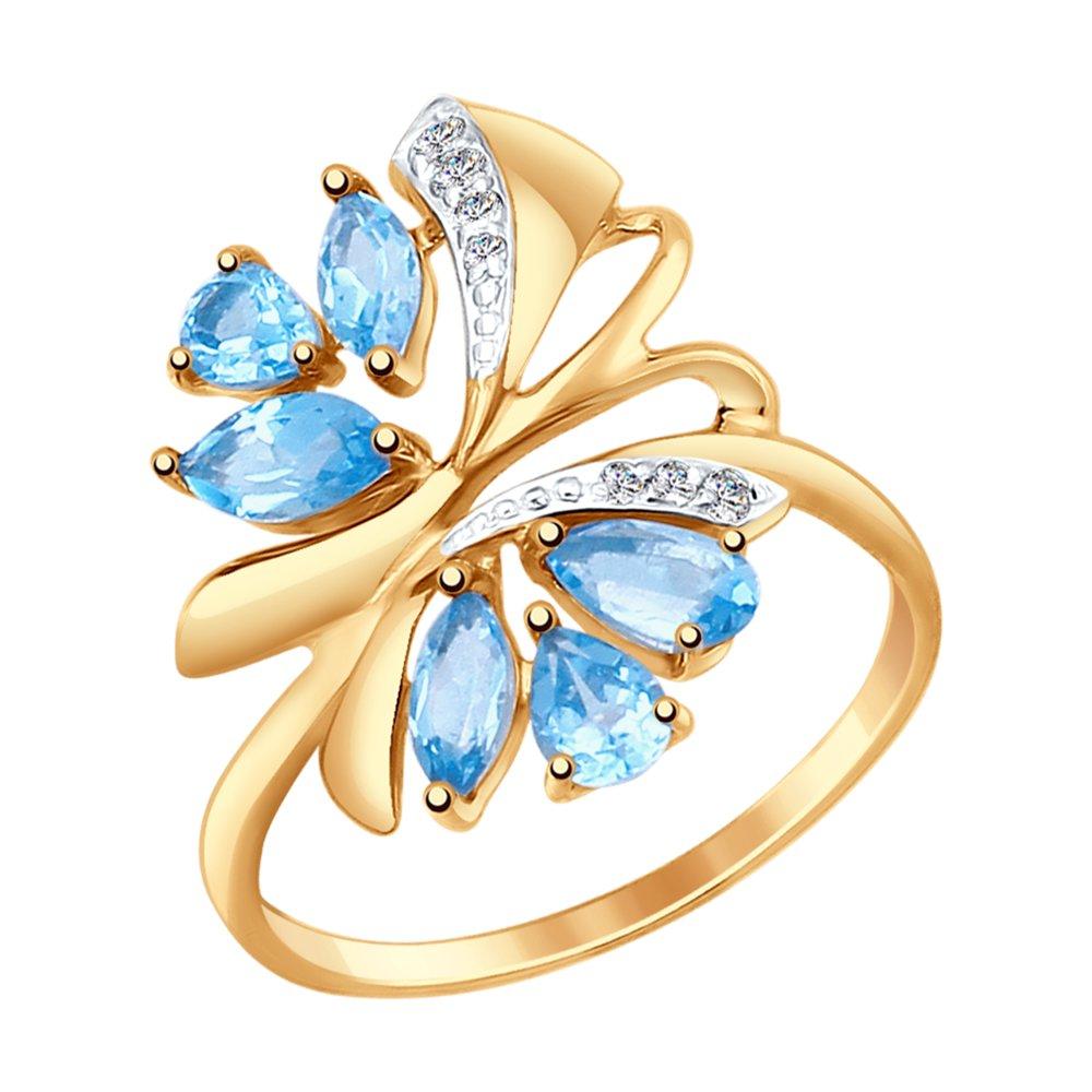 Кольцо из золота с топазами и фианитами SOKOLOV Арт КЗ-131