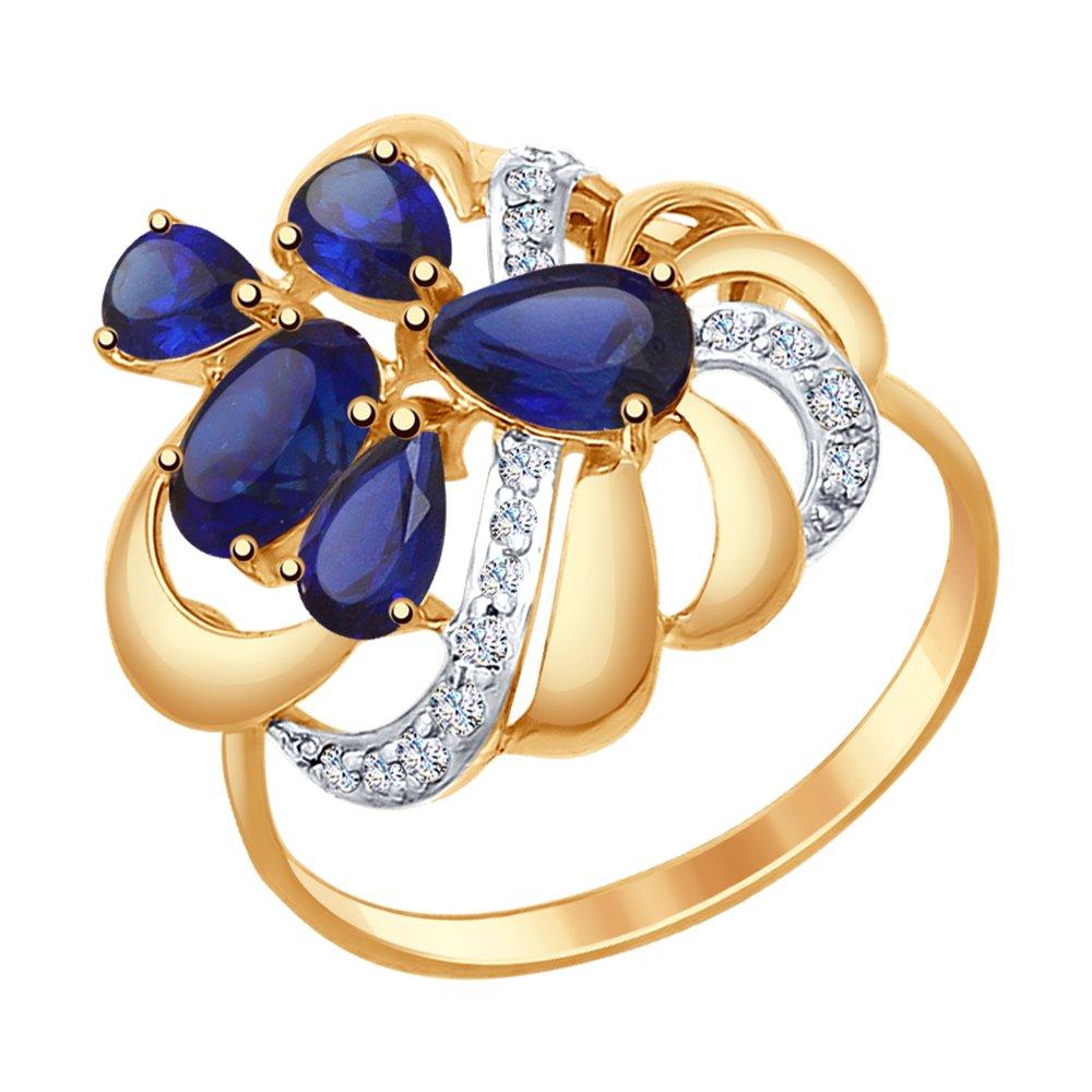 Кольцо из золота с синими корундами (синт.) и фианитами SOKOLOV Арт КЗ-179
