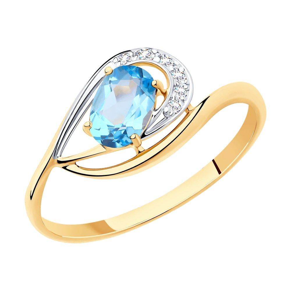 Кольцо из золота с топазом и фианитами SOKOLOV Арт КЗ-183