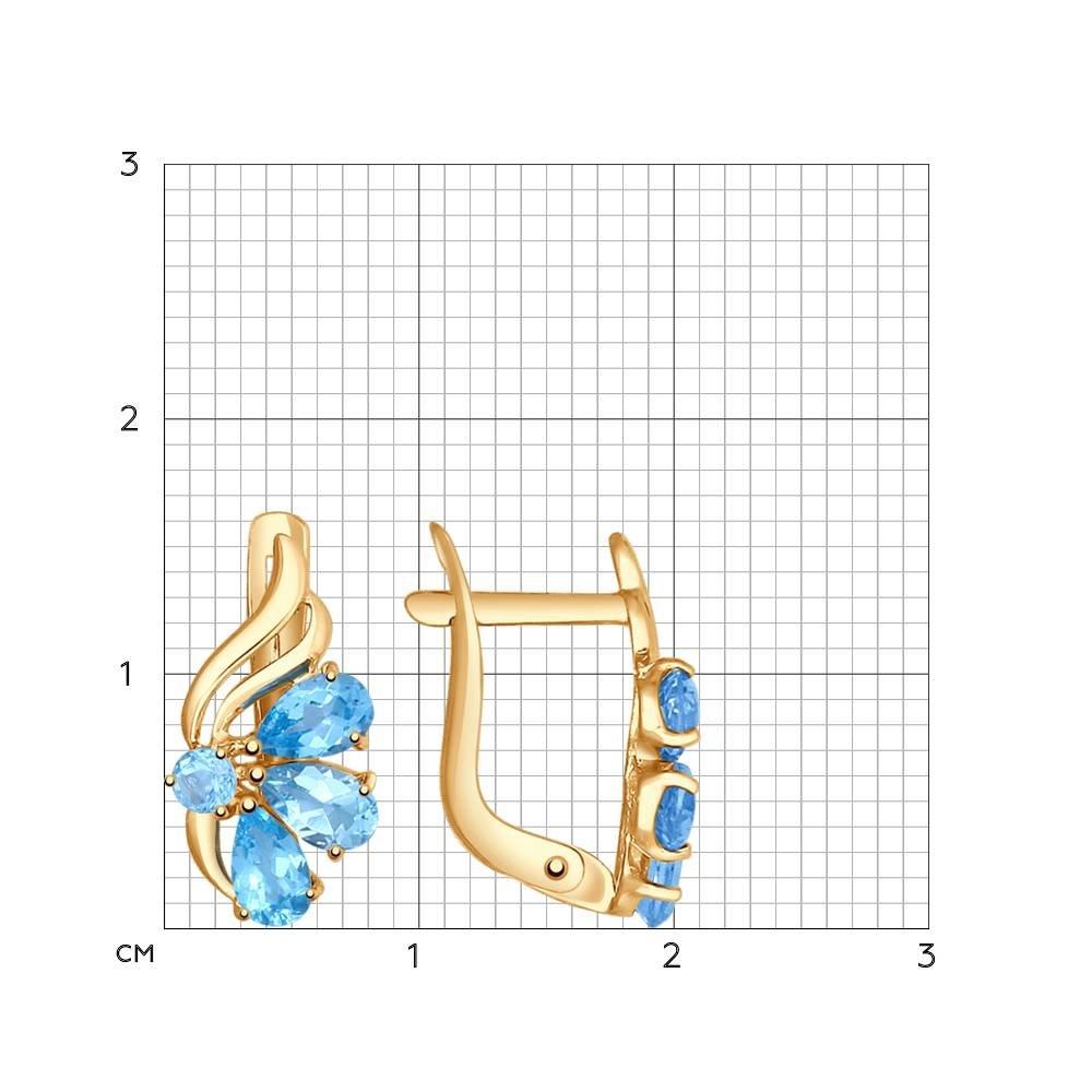 Серьги из золота с голубыми топазами SOKOLOV Арт СЗ137