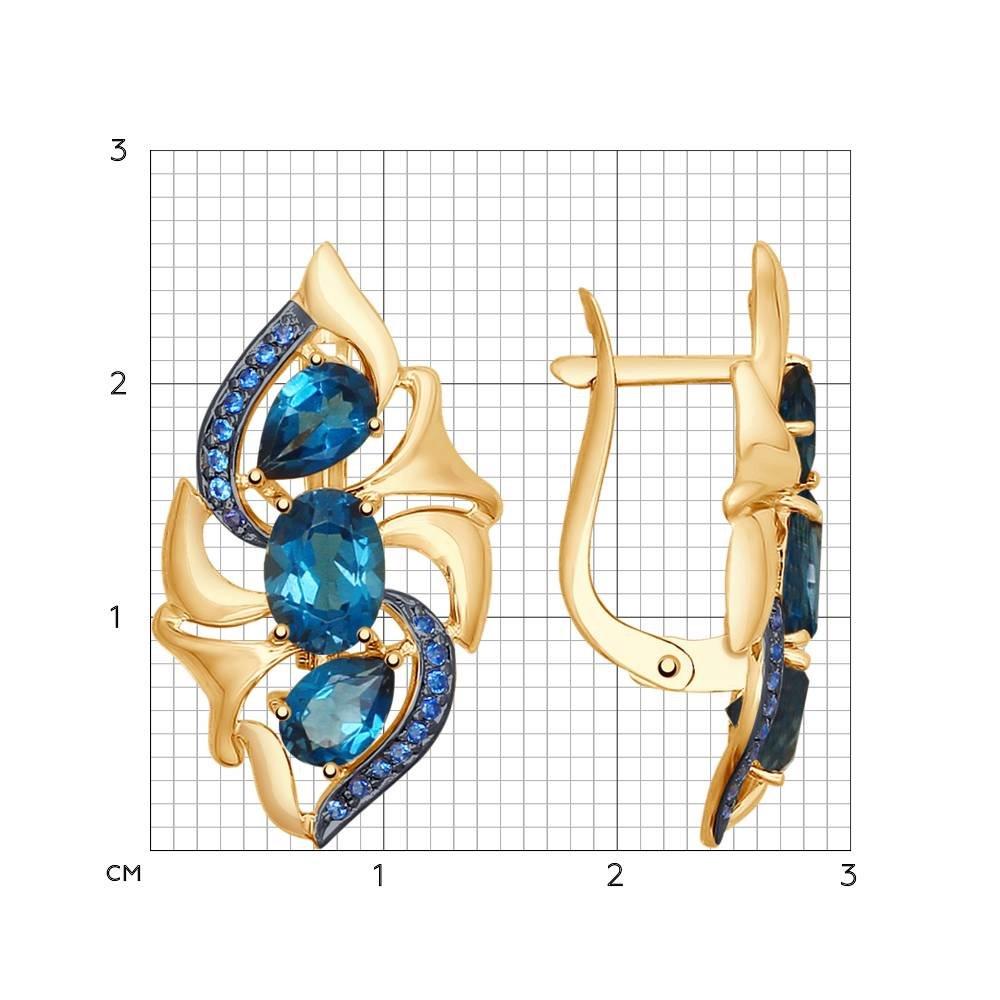 Серьги из золота с синими топазами и синими фианитами SOKOLOV Арт СЗ-194