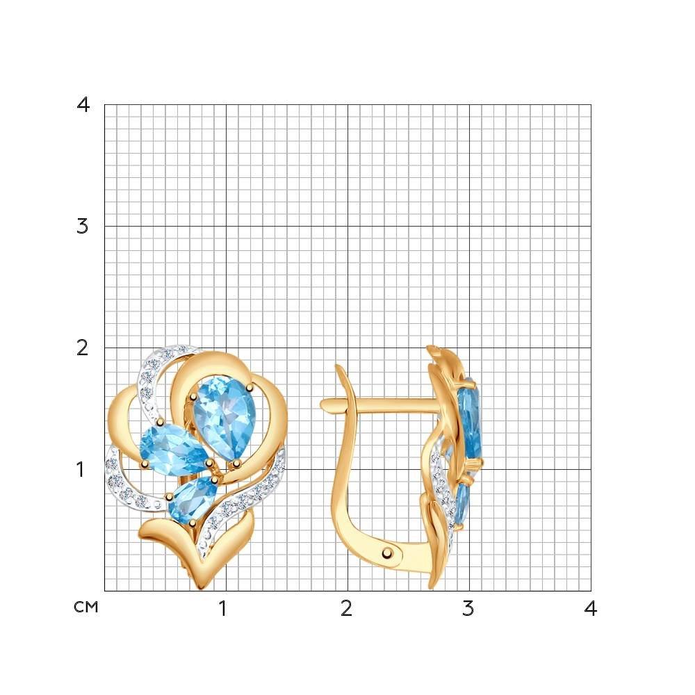 Серьги из золота с топазами и фианитами SOKOLOV Арт СЗ-197