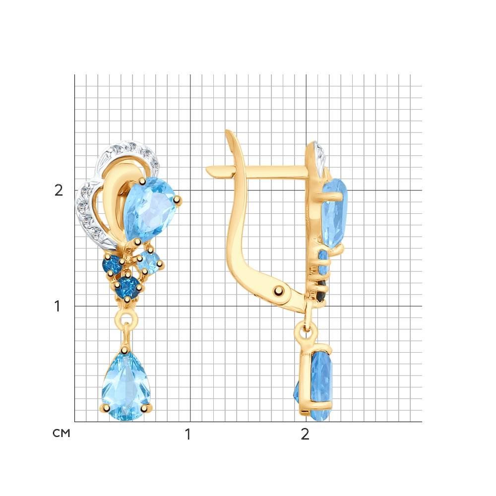 Серьги из золота с голубыми и синими топазами и фианитами SOKOLOV Арт СЗ-200