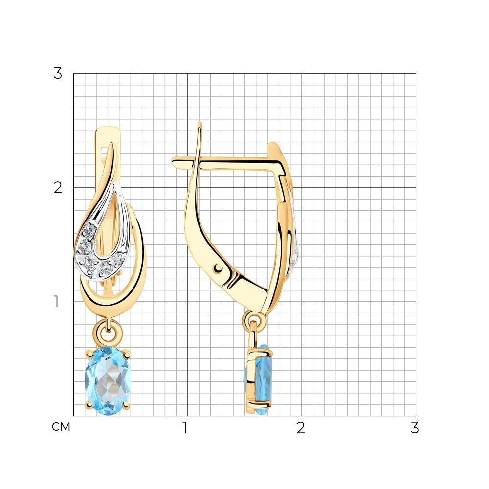 Серьги из золота с топазами и фианитами SOKOLOV Арт СЗ-202