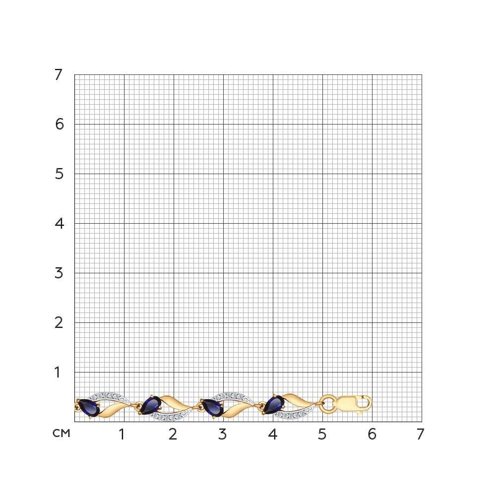 Браслет из золота с корундами сапфировыми и фианитами Sokolov Арт БЗ028/1