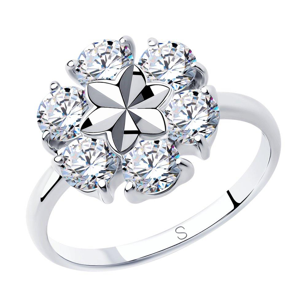 Кольцо из серебра с алмазной гранью с фианитами SOKOLOV Арт КС-389